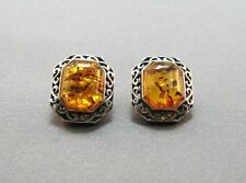 Medium rectangle Sterling Silver Amber post earrings