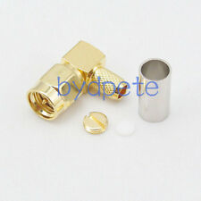 SMA male plug right angle pin RF Connector crimp RG58 RG142 RG400 LMR195 cable