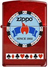 Zippo Gentleman's Bet Poker Chip on Candy Apple Red Windproof Lighter RARE