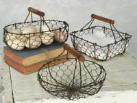 Farmhouse SET OF THREE(3) CHICKEN WIRE BASKET Handle Rustic Country Primitive
