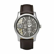 Fossil Men's ME1098 Twist Multifunction Taupe Cut Away Dial Brown Leather Watch
