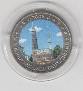Deutschland  2 €  Hamburg  Michel   2008  coloriert  Farbmünze