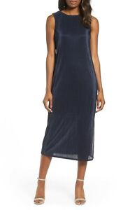 $138 NIC + ZOE Revamp Pleat Midi  Sleeveless Dress sz XS DARK INDIGO  17228