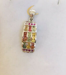 925 Silver Cluster Pendent With Natural Round Multi -Color Sapphire 3.85GM