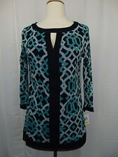 INC International Concepts 3/4 Sleeve Gothic Gates Printed Keyhole Top PL #3402