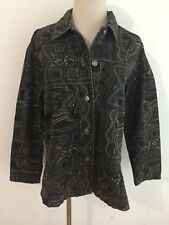 CHICO'S Button-Front Beaded Shirt Jacket Mocha Brown w/Embroidery Size 0
