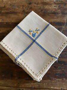 Handmade 4 Cloth Napkins & 2 Coasters Crochet Blue Yellow Fleur De Lis Beige