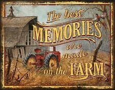 The Best Memories Are Made On The Farm TIN SIGN Metal Tractor Barn Poster