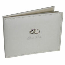 Amore Suede Wedding Guest Book with Silver Rings WG279