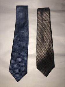 (2) Arrow 100% Silk Men's Neckties- Light Blue, Gold- Geometric