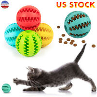 USA Rubber Ball Chew Pet Dog Cat Puppy Teething Dental Healthy Treat Clean Toy