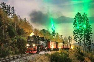 LED Bild LED Bilder 65 cm x 45 cm Leuchtbild LOKOMOTIVE BAHN Samarkand-Lights