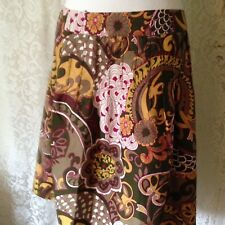 Downeast M Paisley Cotton Drop Pleat Skirt Lined Side Zip BoHo Grn Pink Gold Whi