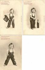 LOT DE 3 CARTES POSTALES FANTAISIE ENFANT NOS MOUTARDS SOUVENIR DE JEUNESSE