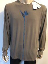 NWT $650 Giorgio Armani Collezioni Grey Long Sleeve Shirt With Blue Flower