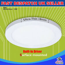 18W Round Ultra Slim 18mm Surface Mount  Build-in Driver LED Ceiling Panels UK