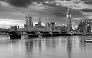 London Big Ben River - Black And White Landscape Large Poster & Canvas Pictures
