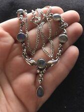 Vintage Sterling Silver Hallmarked 925 Moonstone Art Nouveau Style Necklace Boho