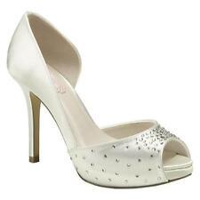 Paradox London Pink White Satin Cupid Peep-Toe Pump Womans Size 6