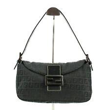 Authentic Fendi Canvas & Leather Baguette Zucca Shoulder Bag in Black + Dustbag