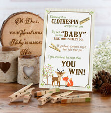 Woodland Baby Clothespin Game Baby Shower Activity