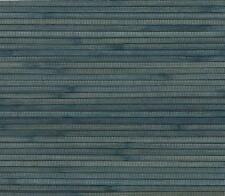 Wallpaper Real Natural Grasscloth Textured Sisal Wide Chunky Bamboo Blue on Navy