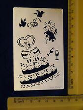 Brass/stencil/Oblong/Wedding/Cake/Bells/Glass/emboss