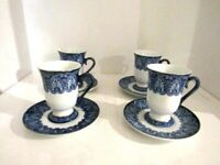 Bombay Company Tile Cobalt Blue White Platinum Trim Footed China Tea Cup