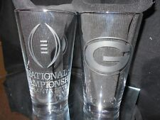 2018 NCAA COLLEGE FOOTBALL PLAYOFF CONTENDER GEORGIA BULLDOGS ETCHED 16oz GLASS