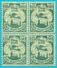 DANZIG 1923, 25 MARK GREEN-BLUE, AIR MAIL, MNH, BLOCK OF 4.