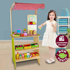Kids Wooden Toy Pretend Play Marketplace Stand Fruit Veg Shop Stall Supermarket