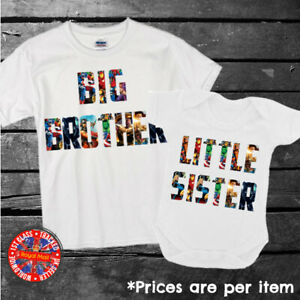 Marvel Collage Big & Little Brother Sister Matching T-shirt Set Siblings Gift