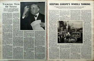 Tom Connally Talking Tom Of Texas / Keeping Europe's Wheels Turning Article 1947