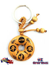 Chinese Wooden Chinese Animal Year Charm Talisman Feng Shui Key Ring