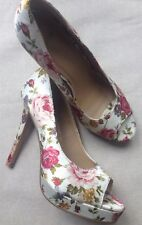 Asos Floral Cream Multi Satin Peep Toe Very High Heel Shoes UK 5 Eu 38 Wedding