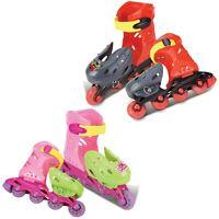 Kids 4 Wheels In Line Roller Blades Skates Boys Girls Adjustable Size UK 10.5-15