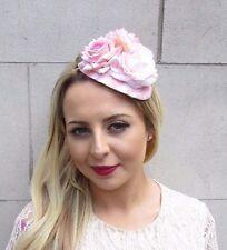 Blush Light Pink Cream White Rose Flower Fascinator Races Headband Wedding 3644