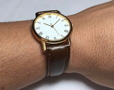 Brand New Classic Style Unisex 33mm Gold-plated Case & Brown Leather Watch