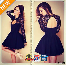 WOMEN LADIES PLEATED SKIRT LONG SLEEVE LACE TOP LOW NECK MINI SKATER DRESS A019