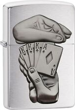 Zippo Full House Poker Hidden Card Emblem Brushed Chrome Lighter NEW 29396