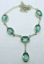 "Blue Topaz Silver Overlay Handmade Gemstone Necklace New 21"" Adjustable New"