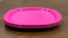 TUPPERWARE MICROWAVE REHEATABLE LEGACY DINNER PLATES SET-IN FUCHSIA COLOR-9 In