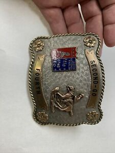 BAR J GERMAN SILVER NATION FINAL Rodeo Buckle 1980 Little Britches Second Place