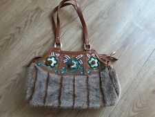 Ladies oilily shoulder bag..faux fur,leather embroidery