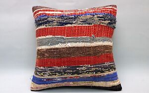 Kilim Pillow, 16x16 in, Ethnic Pillow, Decorative Sofa Pillow, Vintage Pillow