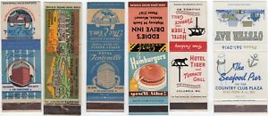 6 Missouri Hotel and Restaurant Matchbook Advertisements EARLY! LOOK GREAT ADS!!