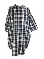 Ganni Cotton Shirt Dress Oversized Check Tartan Blue Cream Button Down XS 6/8 UK
