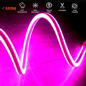 ATOM Led Neon Flex Pink Double Side Light Waterproof IP67 LED 24V with UK Plug