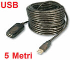 Prolunga USB maschio femmina, 5m. Cavo M/F usb 2.0 PC, 5 m.Mouse,hub,tastiera
