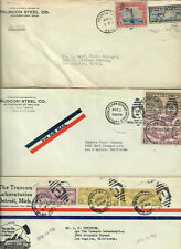 1929 - 1933 COVERS AIRMAIL STAMPS TRUSCON STEEL RETURN ADDRESS SCOTT C7, C12+